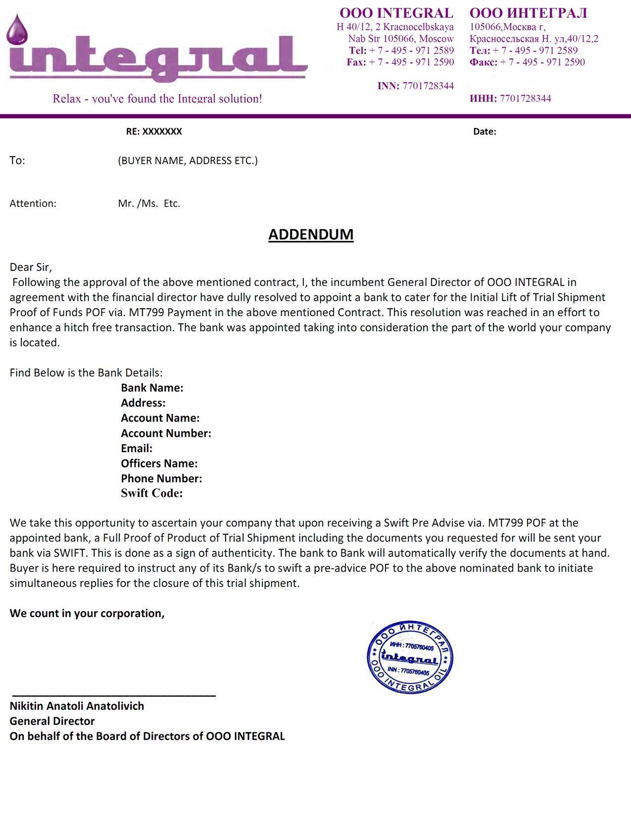 Addendum Sample Letter Agreement.Addendum Sample Letter